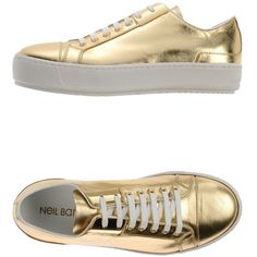 Neil Barrett Low-tops & Trainers ($175) ❤ liked on Polyvore featuring shoes, sneakers, gold, neil barrett, rubber sole shoes, leather low top sneakers, leather shoes and low profile sneakers