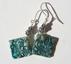 Polymer Bead Lightweight Earrings Look Like Metal or Ceramic Handmade & Hanpainted Beads by Etsy artist AnnaPereira