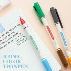 0.4mm / 6 Colors Useful Twin Pens Set / Two ways Pens by DubuDumo