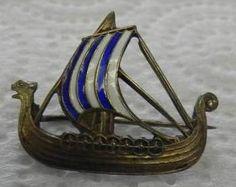 Vintage Norway Sterling Viking Ship Pin