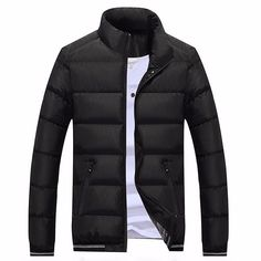 Sale 29% (41.55$) - Mens Winter Thick Warm Stand Collar Pure Color Zipper Cotton Padded Jacket