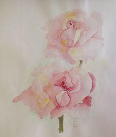 "Saatchi Online Artist: Hedwig Pen; Watercolor, 2011, Painting ""2 Roses"""