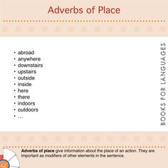Adverbs are expressions that function as modifiers of other elements in the clause. They can provide a wide range of information. Adverbs of place provide information about the place of an action.
