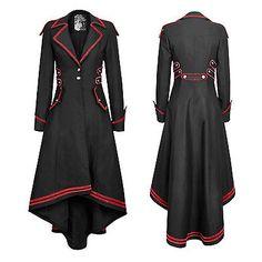 Punk Rave stylish Military Uniform Long Coat Jacket,Black Steampunk Gothic rock