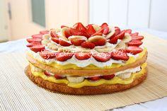 Strawberry Sponge Cake with Homemade Cream