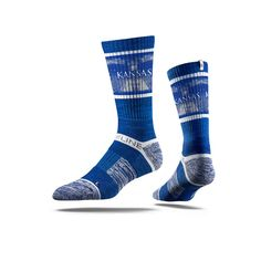 Stridelines are designed to embody the look, feel, and tradition of Kansas. This Jayhawks Blue Socks features sweat-wicking fibers, select terry pads, our paten Strideline Socks, Blue Socks, Crew Socks, Red White Blue, Blue Orange, Black, University Of Kansas, Odell Beckham Jr, Of Montreal