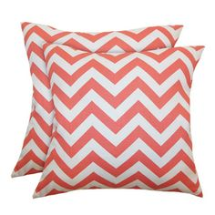 Zig Zag Pillow in Coral & White from the Pillow Pairs event at Joss and Main