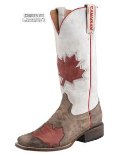 Men's Cowboy Boots Roper Red Canadian Flag Boot Square Toe ...