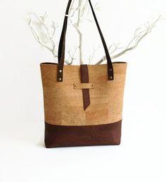 Large Cork Bag  Eco Friendly Tote bag   Vegan ♡ by MyCottonHouse