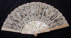 Maria Niforos - Fine Antique Lace, Linens & Textiles : Antique Fans # FA-11 Lovely Brussels Lace Fan w/ Point De Gaze