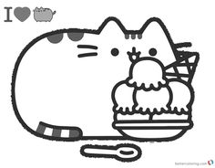 Pusheen Coloring Pages pusheen coloring pages yummy iceream free printable coloring pages 1000 X 780 pixels