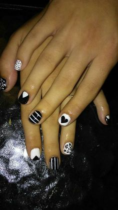 #nailart #naildesigns #cheetahnails #hearts #polks #blackandwhite #nails