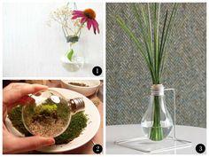 platten moos DIY Deko aus Glühbirnen  gras