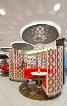 KFC Mongolia // Ger inspired booth seats. Interior design for the international first fast food restaurant in Mongolia, for KFC.