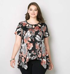 ee03203753294 Avenue Cutout Floral Sharkbite Top. Large WomenGirl With CurvesPlus Size  TopsWomen s ...