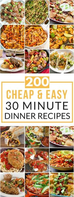 200 Cheap & Easy 30 Minute Meals (Budget Meals For Two) Cheap Easy Meals, Inexpensive Meals, Frugal Meals, Cheap 30 Minute Meals, Cheap Meals For Two, Freezer Meals, Cheap College Meals, Fast Meals, Cheap Food