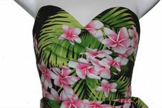 Nohea 1950's Rockabilly Hawaiian Tiki Strapless Wrap Dress - Tropical/Floral by NormaJeanVintageLLC on Etsy