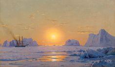 William Bradford Off the Greenland Coast Under the Midnight Sun William Bradford, Morning Has Broken, Albert Bierstadt, New Bedford, Midnight Sun, Paintings I Love, Romanticism, Arctic, Photo Editing