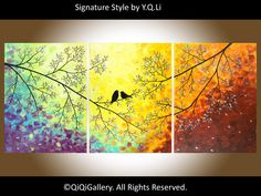 Love Birds by Twilight - Abstract Painting Original by QiQiGallery, $545.00