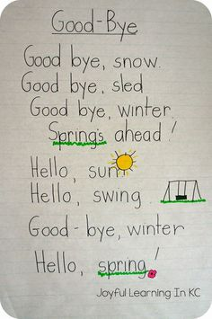 Would be a good copying activity Joyful Learning In KC: Spring Poems for Shared Reading Time Preschool Poems, Kindergarten Poems, Kids Poems, Spring Preschool Songs, Spring Activities, Easter Songs For Preschoolers, English Poems For Children, Shared Reading, Reading Time
