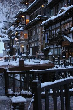 """Ginzan Onsen in Obanazawa, Yamagata, Japan, after snowfall. """"Onsen"""" means """"hot spring"""" and the area is known for them. Yamagata, Places Around The World, The Places Youll Go, Places To See, Around The Worlds, Japan Kultur, Beautiful World, Beautiful Places, Go To Japan"""
