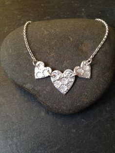 Fine silver row of hearts necklace £35.00