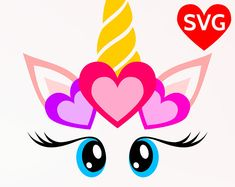 Love Unicorn face with hearts SVG file for Valentine's Day