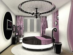 Современная спальня с круглой кроватью