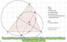 Dynamic Geometry Problem 896: Triangle, Orthocenter, Midpoint, Median, Intersecting Circles, Diameter, Collinear Points. GeoGebra, HTML5 Animation for Tablets (iPad, Nexus). Levels: School, College, Mathematics Education