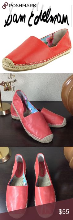 Sam Edelman Red Leather Espadrilles Size 9 Red soft leather espadrilles in excellent condition!  These shoes are the perfect compliment to your spring and summer wardrobe. Thanks for your interest, please checkout the rest of my closet! Sam Edelman Shoes