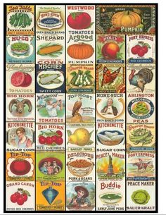 Eat Your Fruits and Veggies Collage Sheet - Vintage Fruit and Vegetable Labels - 1.5 x 1.5 Inches - Digital Download - Printable