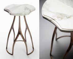 Mattaliano's Fourchette Drink Table at Paul +, ADAC Atlnata #bronze #clover # marble #stone