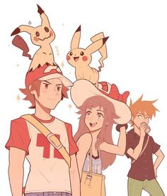 Trainer Red, Leaf, and Gary with Pikachu and Mimikyu