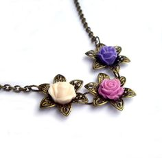 S A L E  starts NOW!!!  Until 11:59PM  PDT  Use Coupon Code JPWITHLOVE15OFF to receive 15% off all ITEMS IN MY STORE Flower necklace purple, lilac, pink filigree flower rose resin flower jewelry