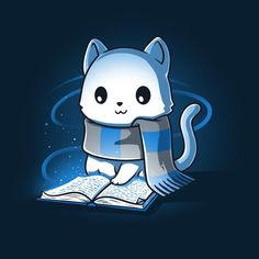 "I thought ""Ravenclaw Kitty"" when I saw this so. Ravenclaw, Harry Potter Cat, Harry Potter Drawings, Cute Animal Drawings, Kawaii Drawings, Anime Animals, Cute Animals, Hogwarts, Desenhos Harry Potter"