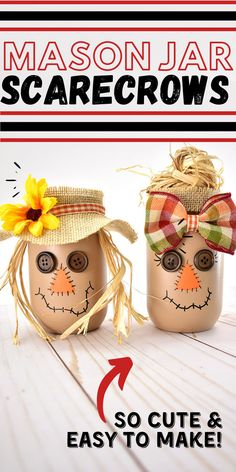 Fall Pumpkin Crafts, Easy Fall Crafts, Fall Diy, Thanksgiving Crafts, Holiday Crafts, Fun Crafts, Fall Mason Jars, Mason Jar Crafts, Mason Jar Diy
