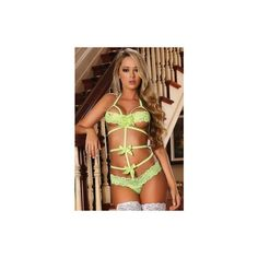 Diva Green Lace Bow Teddy ❤ liked on Polyvore featuring intimates, sexy lingerie, green lingerie, strappy lingerie, lacy lingerie and lace lingerie