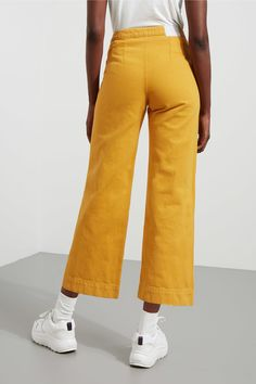 Vida Yellow Denim Trousers - Dusty Tangerine - Jeans - Weekday SE