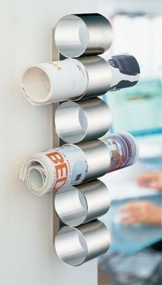 Upcycled tin cans.