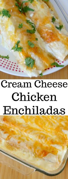 These chicken enchiladas are full of creamy, cheesy goodness! Perfect for Sunday dinner and sure to be a new family favorite! Use rotisserie chicken to save time in the kitchen! on a budget sides with boyfriend dinners Yummy Recipes, Easy Chicken Recipes, Easy Dinner Recipes, Mexican Food Recipes, Cooking Recipes, Kitchen Recipes, Recipe Chicken, Chicken Enchilada Recipes, Cream Cheese Recipes Dinner