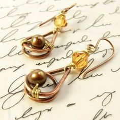 Wire Wrapped Handmade Jewelry Earrings Hammered by IntuitiveGlass