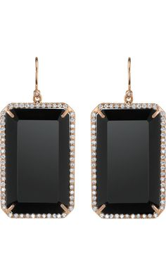 Irene Neuwirth Emerald Cut Black Onyx & Diamond Earrings