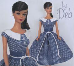Blue & White - Vintage Barbie Doll Dress Reproduction Repro Barbie Clothes