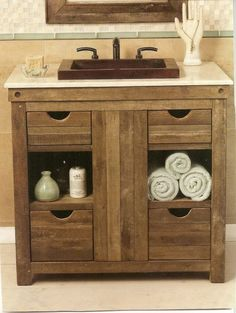 Check out these weathered wood bathroom vanity ideas which look so tempting to copy! You can include them in your inspirations list to add another style to your bathroom decor. Rustic Bathroom Designs, Rustic Bathroom Vanities, Modern Farmhouse Bathroom, Rustic Bathrooms, Wood Bathroom, Small Bathrooms, Bathroom Cabinets, Bathroom Ideas, Vanity Bathroom