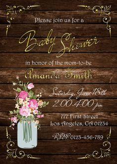 Mason Jar Baby Shower Invitation Rustic Baby by GrayCatGraphics