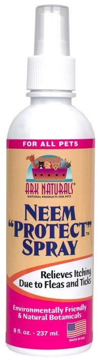 Eco-friendly, natural botanicals soothe pets bothered by insects, skin irritations and itching. For more information: http://arknaturals.com/p/115/neem-protect-spray