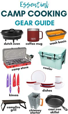 Wondering what camp cooking gear you should bring camping and what can be left at home? We've got you covered with this camping gear list that will show you all the kitchen equipment you need to make tasty meals outdoors. Diy Camping, Zelt Camping, Camping Must Haves, Best Camping Gear, Camping Glamping, Camping Survival, Camping Meals, Family Camping, Camping Hacks