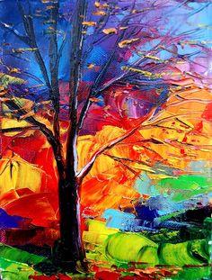 Landscape oil painting original impasto art by Aja. $60,00 USD, via Etsy.