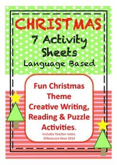 7 Christmas activity sheets. Focus on creative writing, word skills and creative thinking.