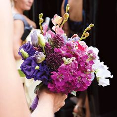 Brides: Jewel-toned Bridesmaid Bouquets. Each bridesmaid carried a jewel-toned bouquets. Flowers were by Kloeckner Preferred Flowers.